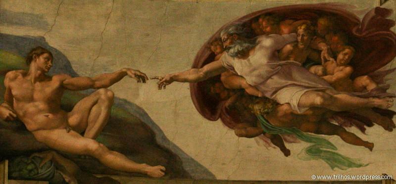 A criação do Mundo, pormenor dos tectos da Capela Sistina - Vaticano