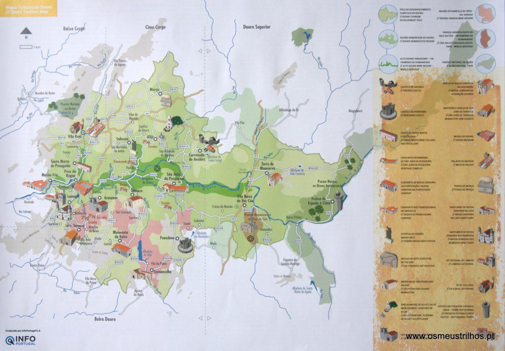 mapa alto douro Mapa do Douro. Uma ferramenta para visitar o Douro | Os Meus Trilhos mapa alto douro